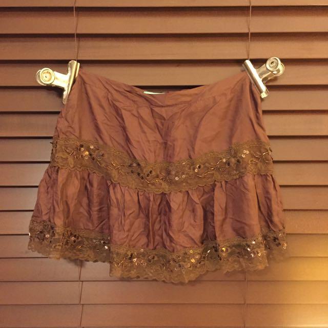 People Are People Brown Beaded Mini Skirt