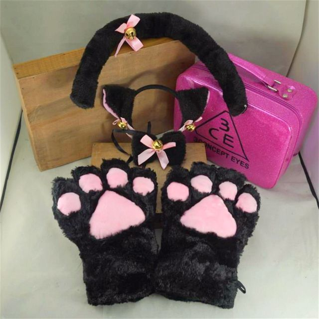 Cosplay Kitten Cat Set Paw Gloves Ear Hairband Choker Tail Mew Meow