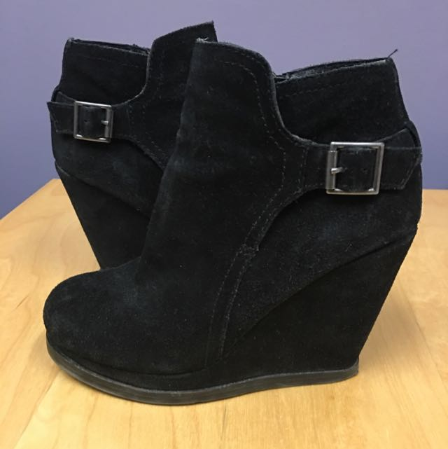 Dolce Vita Black Suede Wedge Booties