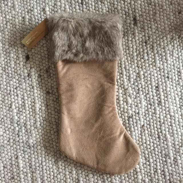 Faux Fur Trimmed Stocking.
