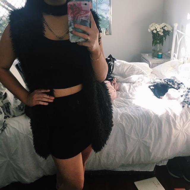 Fluffy Black Vest