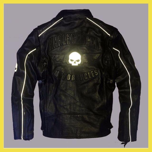 哈雷HarleyAngel摩托車頭層牛皮反光骷髏立領修身保暖內背心機車皮夾克男士真皮皮衣防摔衣重機4DAb