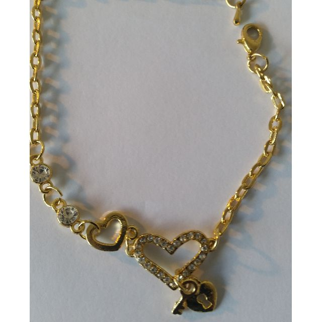 Heart Shape Charm Bracelets Gold Plated Jewelry for Women Fashion Chain Link Bracelet with Crystal