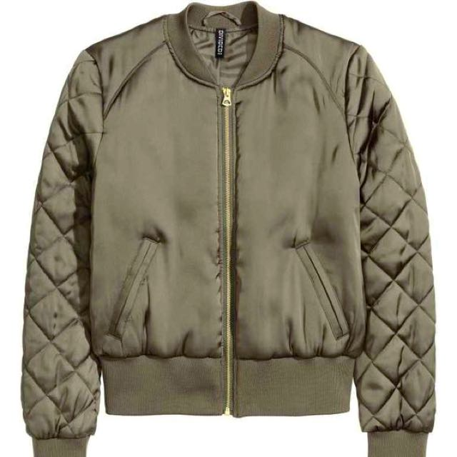 H&M Green Bomber Jacket - Quilted Sleeve