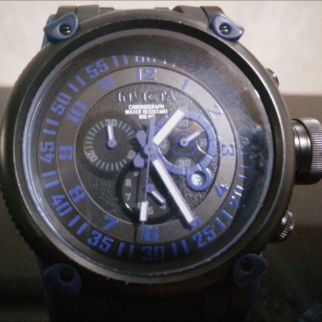 Men's Invicta 0518 Black Polyurethane Russian Diver Chrono.Blue Dial
