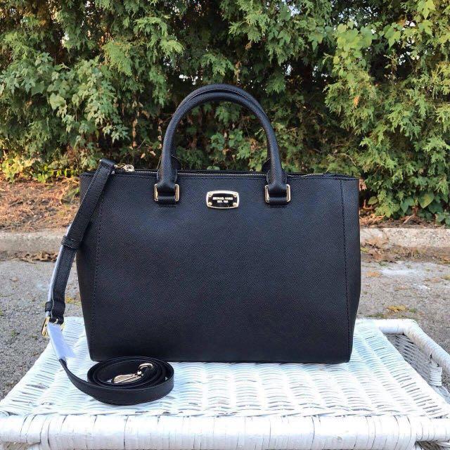 3f238e465fd29e Michael kors Kellen Medium Satchel In Black, Luxury, Bags & Wallets on  Carousell