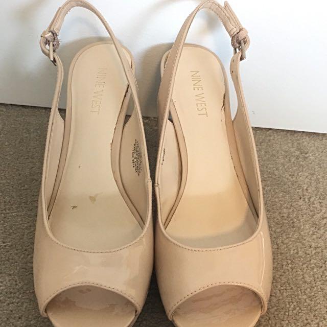 Nine West nude slingback heels