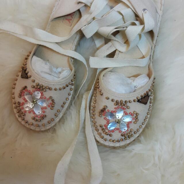 Roxy珠貝編織厚底鞋