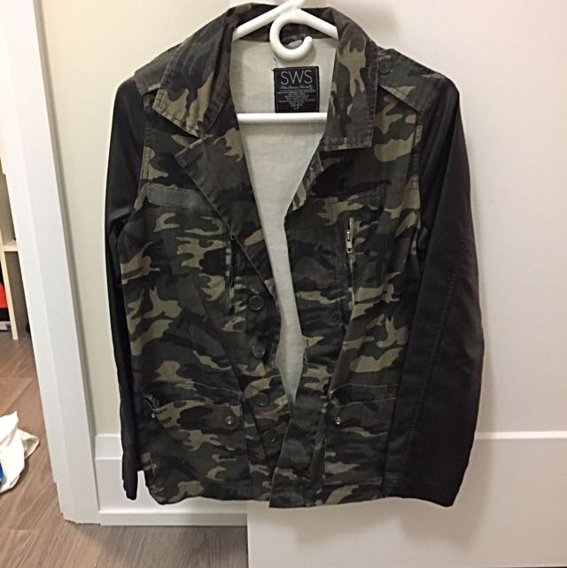 SWS Army Jacket With Vegan Leather Sleeves