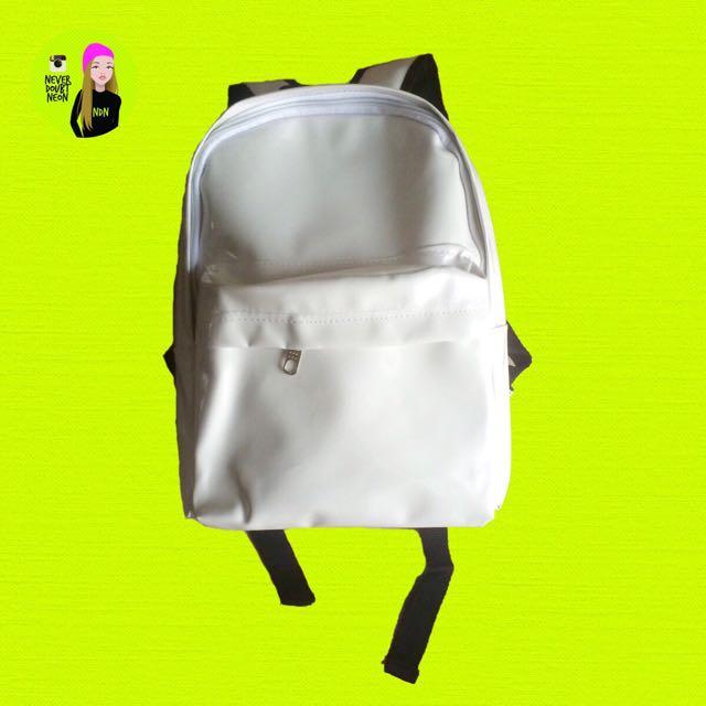 Tas Ransel Kulit Putih/ White Faux Leather Bag