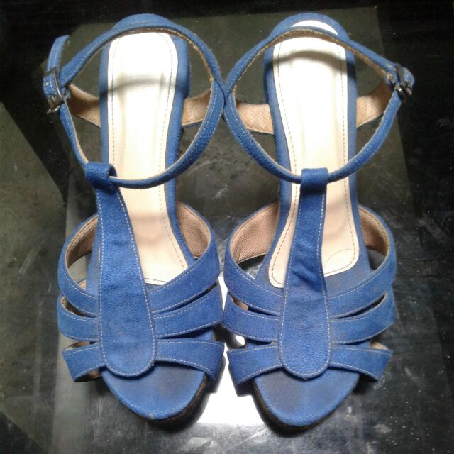 Wedges Blue Wit Flower Unbranded Handmade In Bandung