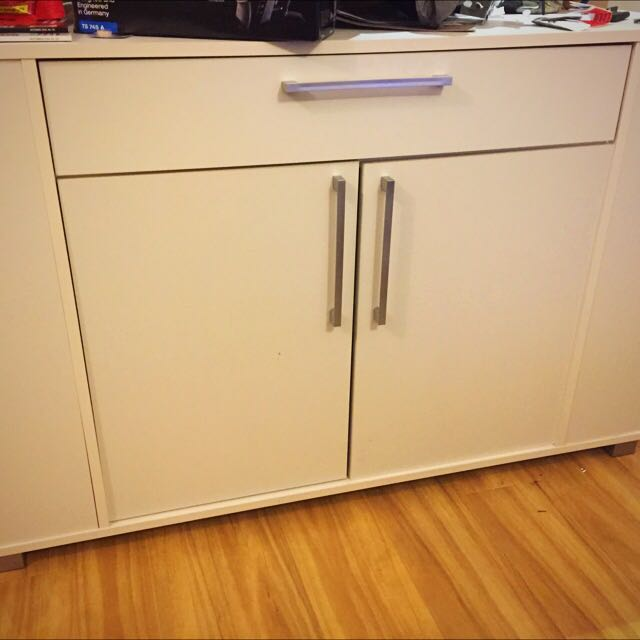 White Buffet with Drawer and Cupboard