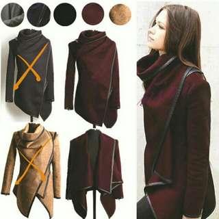 保暖毛呢挺版個性帥氣造型外套~暗紅色
