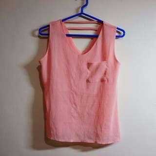 粉色雪紡上衣| 胸前有口袋哦!!