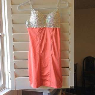 White/peach Mermaid Dress