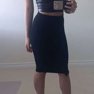 (ON HOLD) Zara Black Ribbed Midi Skirt