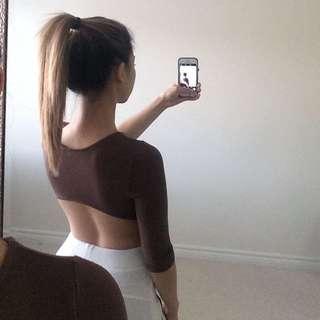 Brown Backless 3/4 Sleeve Top