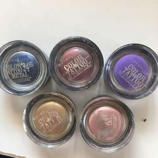 5x Maybelline Colour Tattoo Cream Eye shadows