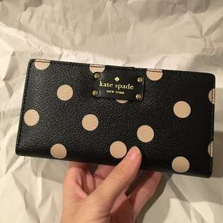 🇺🇸美國代購🇺🇸 Kate Spade 黑X粉 圓點造型 輕薄長夾
