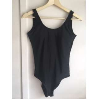 Black One Piece Swimmers with Low Back & hidden cups - sz 8-10