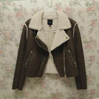 *REDUCED* Edgy Faux Leather Sheep Lined Jacket