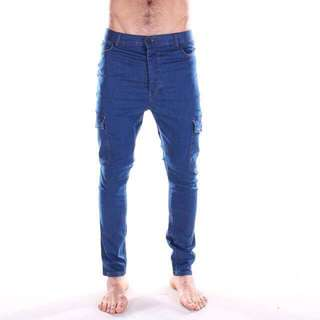 With Tags & Never Worn - Cargo Skinny Blue Denim Jeans (Size 30 Waist)