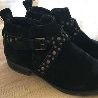 MANGO Suede Black Boots Size 36