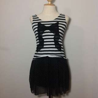 Stripped Dress With Black Ribbon