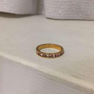白色粉色水鑽復古金色戒指