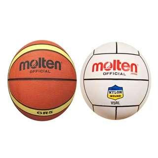 Molten GR5 Basketball (Orange) and Molten V5RL White Volleyball (White)