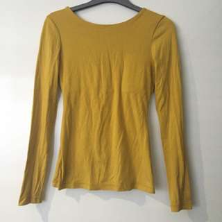 Kookai Low Back Mustard Top - Size 2