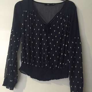 Sportsgirl Navy And White Spot Top - Size 8