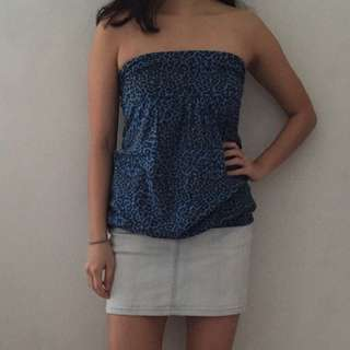 Patterned Blue Tube Top
