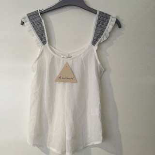 BNWT - White Top With Stripe Detail - Size 8