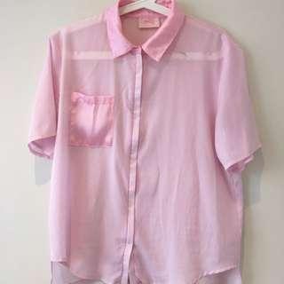 Princess Polly Sheer Pink Zip Top With Satin Details L