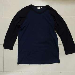Uniqlo Black & Navy Raglan T Shirt