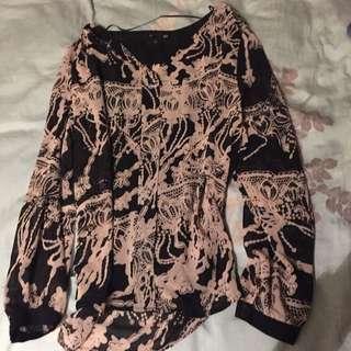 H&M 黑色雪紡上衣