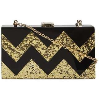 BNIB Dorothy Perkins Zig Zag Gold Black Resin Clutch