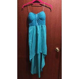 Turquoise Lace Tube Dress With Front Zip