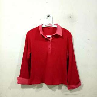 (REPRICED) Top/Atasan/Blouse Salur Merah (Red)