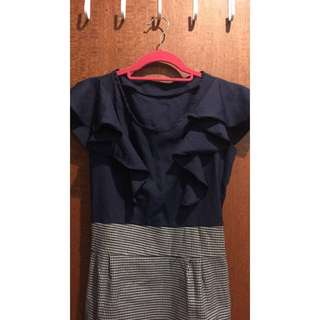 Navy Blue Frill Dress With Black And White Checks