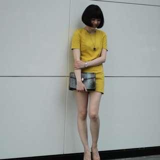 Vieso芥黃色連身洋裝M號