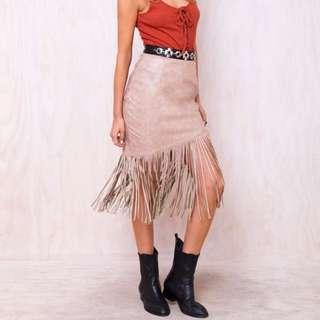 Princess Polly Camel Tassel Skirt Size S