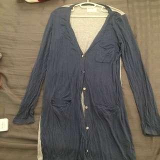 cotton 外套 灰色藍色拼接