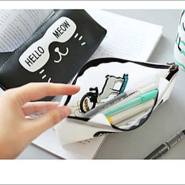立體貓耳矽膠筆袋鉛筆盒文具袋雜物收納