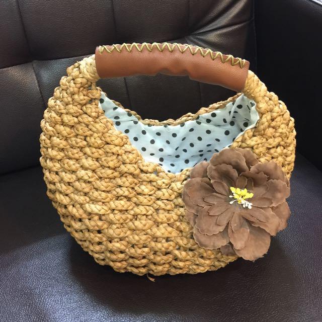 非常可愛小竹籃手提包