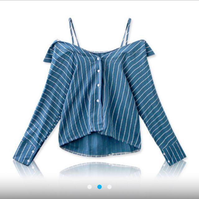 【全新】露肩條紋棉麻襯衫