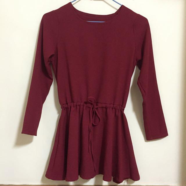 【全新】紅色縮腰洋裝