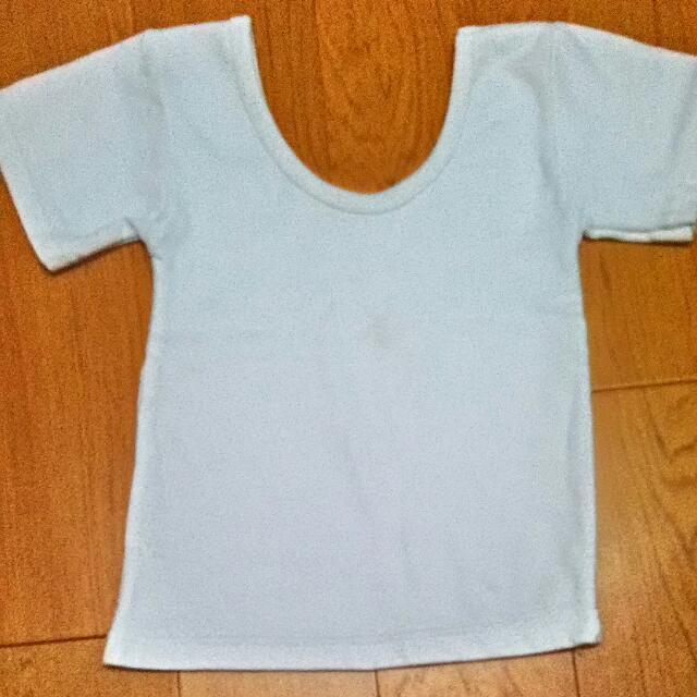 白色&條紋短版上衣