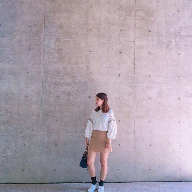 🌵卡其 麂皮短裙(免運)